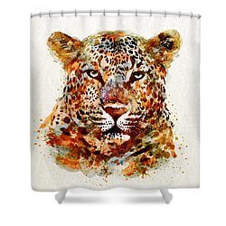 Leopard Head Watercolor Shower Curtain by Marian Voicu