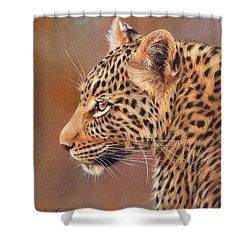 Leopard Portrait Shower Curtain by David Stribbling
