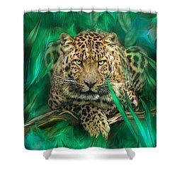 Leopard - Spirit Of Empowerment Shower Curtain by Carol Cavalaris