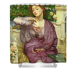 Lesbia And Her Sparrow Shower Curtain by Sir Edward John Poynter
