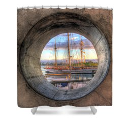 Let's Pretend It's A Porthole Shower Curtain by Heidi Smith