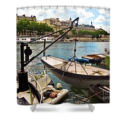 Life On The Seine Shower Curtain by Lauren Leigh Hunter Fine Art Photography