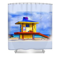 Lifeguard Station Shower Curtain by Gerry Robins