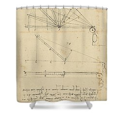 Lifting By Means Of Pulleys Of Beam With Extremity Fixed To Ground From Atlantic Codex Shower Curtain by Leonardo Da Vinci