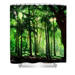 Light In The Jungles. Viridian Greens. Mauritius Shower Curtain by Jenny Rainbow