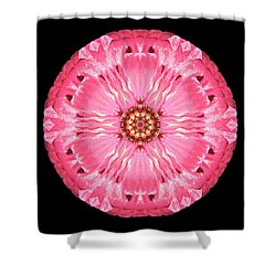 Light Red Zinnia Elegans Flower Mandala Shower Curtain by David J Bookbinder