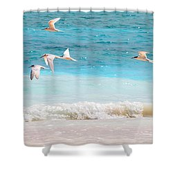 Like Birds In The Air Shower Curtain by Jenny Rainbow