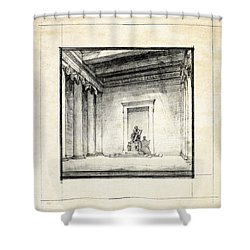Lincoln Memorial Sketch IIi Shower Curtain by Gary Bodnar