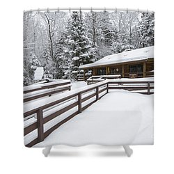 Lincoln Woods Ranger Headquarters - Lincoln New Hampshire Usa Shower Curtain by Erin Paul Donovan