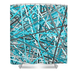 Link - Turquoise And Gray Abstract Shower Curtain by Lourry Legarde