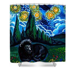 Lion And Owl On A Starry Night Shower Curtain by Genevieve Esson