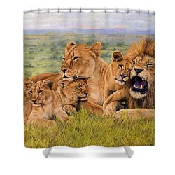 Lion Family Shower Curtain by David Stribbling