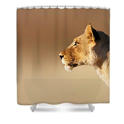 Lioness Portrait Shower Curtain by Johan Swanepoel