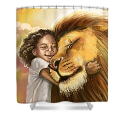 Lion's Kiss Shower Curtain by Tamer and Cindy Elsharouni