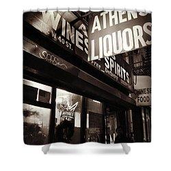 Liquor Shop - New York At Night Shower Curtain by Miriam Danar