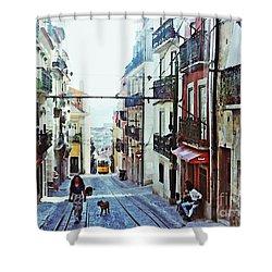 Lisboa Tram Route Shower Curtain by Sarah Loft