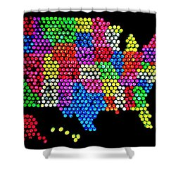 Lite Brited States Of America Shower Curtain by Benjamin Yeager
