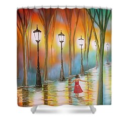 Little Debbie Playing In The Rain Shower Curtain by Chris Fraser