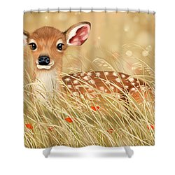 Little Fawn Shower Curtain by Veronica Minozzi