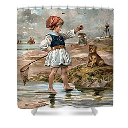 Little Girl At The Beach Shower Curtain by Unknown
