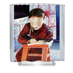 Little Girl From Mongolia Doing Her Homework Shower Curtain by Barbara Jacquin