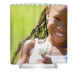 Little Girl Holding Weeds Shower Curtain by Hanson Ng