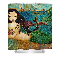 Little Mermaid Shower Curtain by Shijun Munns