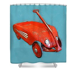 Little Red Wagon Shower Curtain by Michelle Calkins