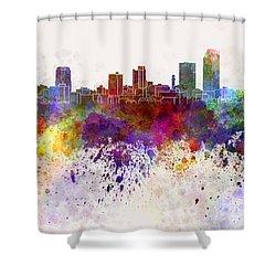 Little Rock Skyline In Watercolor Background Shower Curtain by Pablo Romero