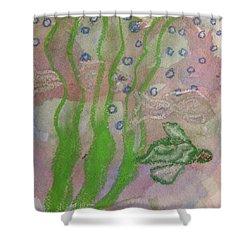 Little Turtle Finding His Way Shower Curtain by Claudia Smaletz