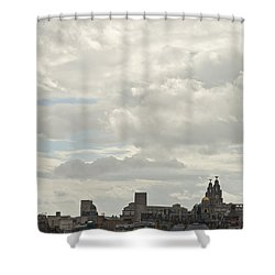 Liverpool Skyline Shower Curtain by Georgia Fowler