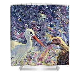 Living Between Beaks Shower Curtain by James W Johnson