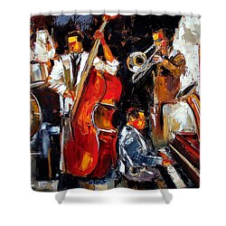 Living Jazz Shower Curtain by Debra Hurd