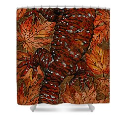 Lizard In Red Nature - Elena Yakubovich Shower Curtain by Elena Yakubovich