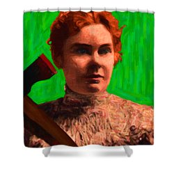 Lizzie Bordon Took An Ax - Painterly - Green Shower Curtain by Wingsdomain Art and Photography