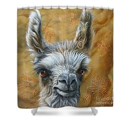 Llama Baby Shower Curtain by Jurek Zamoyski