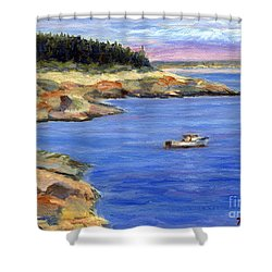 Lobster Boat In Jonesport Maine Shower Curtain by Pamela Parsons