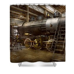 Locomotive - Repairing History Shower Curtain by Mike Savad