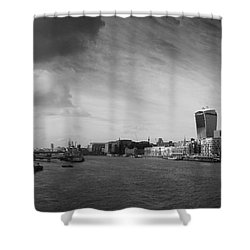 London City Panorama Shower Curtain by Pixel Chimp
