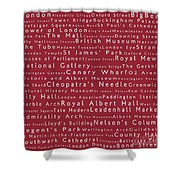 London In Words Red Shower Curtain by Sabine Jacobs