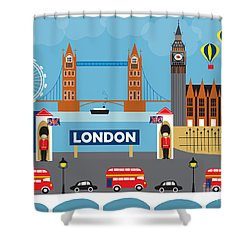 London England Skyline Style O-lon Shower Curtain by Karen Young