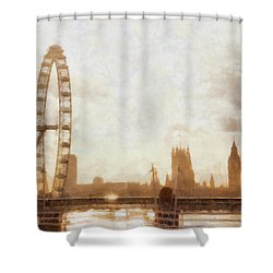 London Skyline At Dusk 01 Shower Curtain by Pixel  Chimp