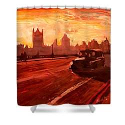 London Taxi Big Ben Sunset With Parliament Shower Curtain by M Bleichner