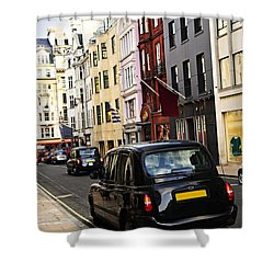 London Taxi On Shopping Street Shower Curtain by Elena Elisseeva