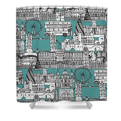 London Toile Blue Shower Curtain by Sharon Turner