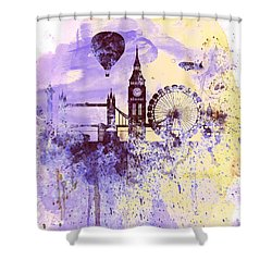 London Watercolor Skyline Shower Curtain by Naxart Studio