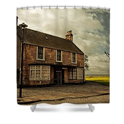 Lonely House On The Shore Of The River Forth. Culross Sketches. Scotland Shower Curtain by Jenny Rainbow