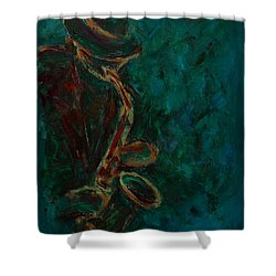 Lonely Jazz Shower Curtain by Xueling Zou