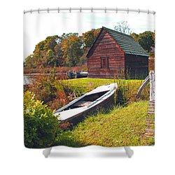 Long Ago Along The Marsh Shower Curtain by Barbara McDevitt