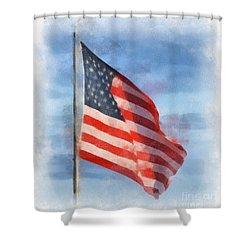 Long May She Wave Shower Curtain by Kerri Farley